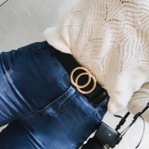 Accessories - Gold buckle Double round ring leather belt